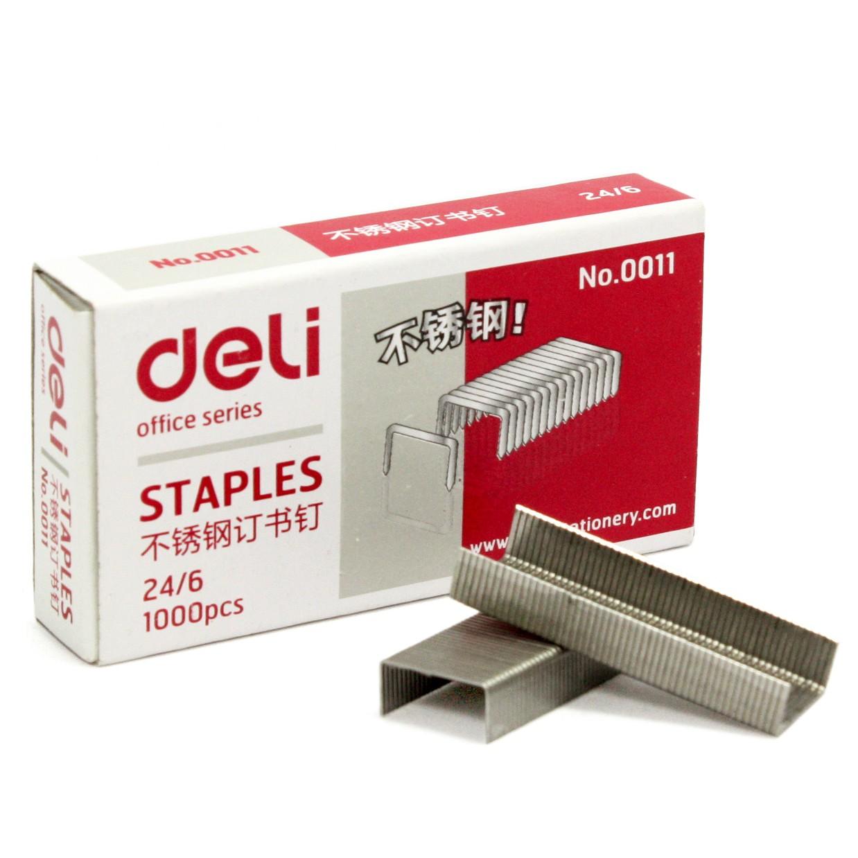 得力(deli) 0011 不锈钢订书针 24/6 (1000支/盒,10盒